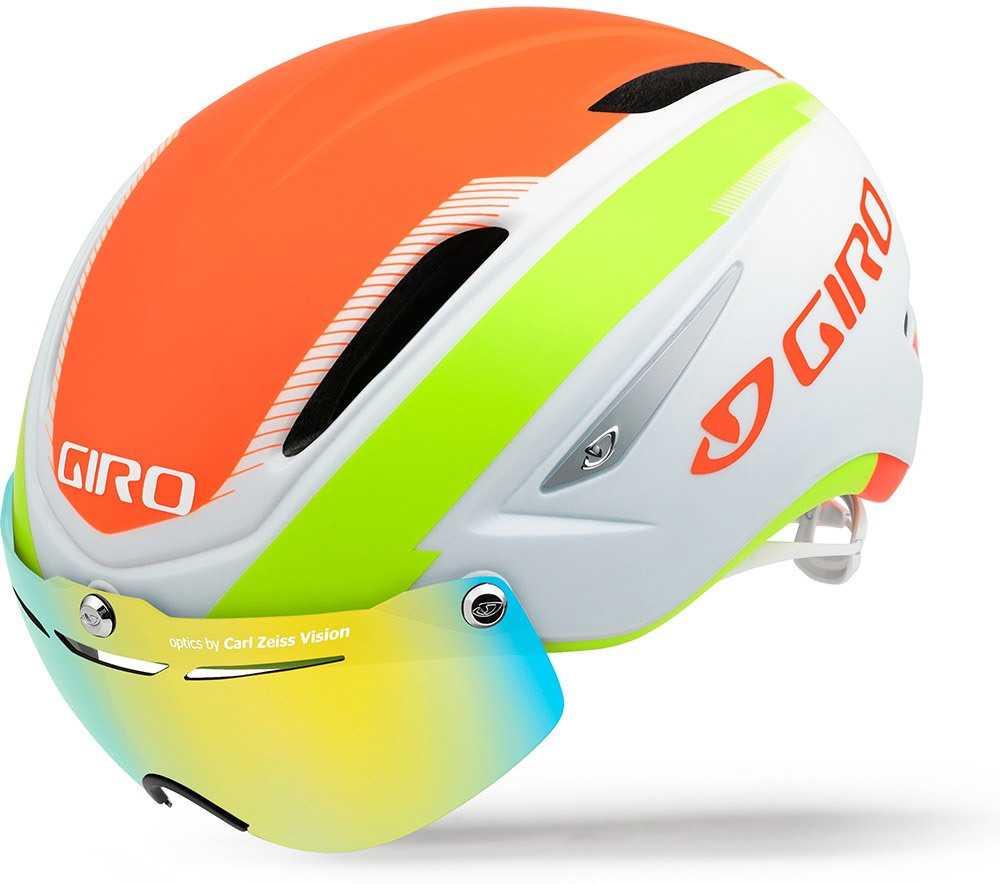 Hjelm Giro Air Attack Shield mat hvid/lime/flame | Helmets